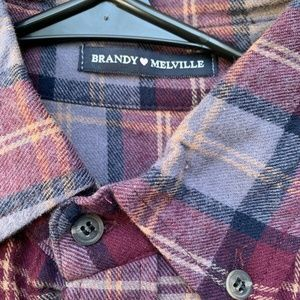 Brandy Melville Flannel Button Up Shirt Red Gray